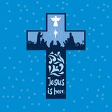 A cena do nascimento de magi e de pastores de Jesus Christ The veio adorar o bebê ilustração royalty free