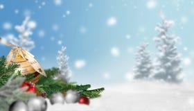 Cena do Natal com neve e bolas do Natal Imagem de Stock
