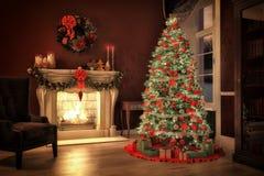 Cena do Natal com presentes e fogo no fundo Fotografia de Stock Royalty Free