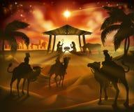 Cena do Natal da natividade ilustração stock