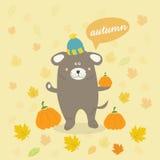 cena do outono com um cão dos desenhos animados Imagens de Stock