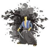 Cena do samurai no fundo   Imagens de Stock Royalty Free
