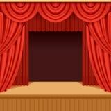 Cena do teatro com cortina vermelha e cenário escuro estágio ilustração royalty free