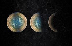Cena do universo com planetas, estrelas e galáxias no espaço e fotografia de stock royalty free