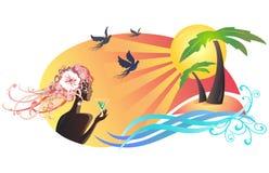 Cena do verão, por do sol de observação da menina na praia ilustração stock