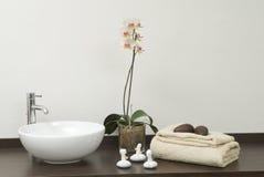 Cena do zen com toalhas e pedras Foto de Stock