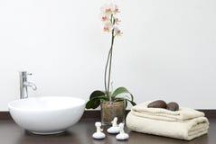 Cena do zen com toalhas e pedras Foto de Stock Royalty Free