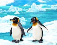 Cena dos desenhos animados - animais árticos - pinguins Foto de Stock