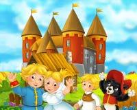 Cena dos desenhos animados com alguns pares e gato medievais do casamento dos fazendeiros que estão castelo bonito de fala e de s ilustração royalty free