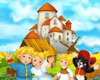 Cena dos desenhos animados com alguns pares e gato medievais do casamento dos fazendeiros que estão castelo bonito de fala e de s ilustração stock