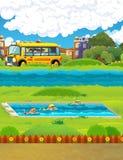 Cena dos desenhos animados com as crianças que nadam em um treinamento da associação Imagens de Stock