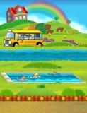 Cena dos desenhos animados com as crianças que nadam em um treinamento da associação Fotografia de Stock