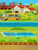Cena dos desenhos animados com as crianças que nadam em um treinamento da associação Imagens de Stock Royalty Free