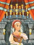 Cena dos desenhos animados com menina bonita - princesa na sala do castelo Fotografia de Stock