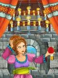 Cena dos desenhos animados com menina bonita - princesa na sala do castelo Imagem de Stock Royalty Free