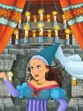 Cena dos desenhos animados com menina bonita - princesa na sala do castelo Fotos de Stock