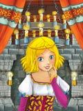 Cena dos desenhos animados com menina bonita - princesa na sala do castelo Fotografia de Stock Royalty Free