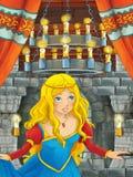 Cena dos desenhos animados com menina bonita - princesa na sala do castelo Foto de Stock