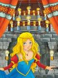 Cena dos desenhos animados com menina bonita - princesa na sala do castelo Fotos de Stock Royalty Free