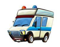 Cena dos desenhos animados com o caminhão da ambulância no fundo branco imagens de stock
