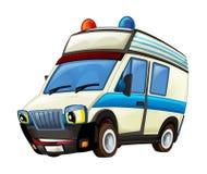 Cena dos desenhos animados com o caminhão da ambulância no fundo branco fotografia de stock royalty free