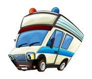 Cena dos desenhos animados com o caminhão da ambulância no fundo branco fotografia de stock
