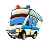 Cena dos desenhos animados com o caminhão da ambulância no fundo branco foto de stock