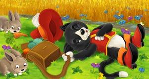 Cena dos desenhos animados com o gato inteligente que finge dormir - coelhos de sedução na armadilha ilustração stock