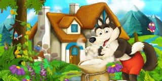 Cena dos desenhos animados com o lobo perto da casa da vila com um saco completo da farinha Imagem de Stock Royalty Free