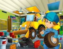 Cena dos desenhos animados com o mecânico no funcionamento da garagem Foto de Stock Royalty Free