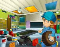 Cena dos desenhos animados com o mecânico no funcionamento da garagem Fotografia de Stock Royalty Free