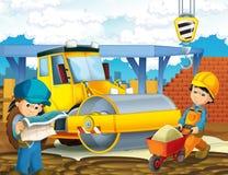Cena dos desenhos animados com os trabalhadores no canteiro de obras - construtores que fazem coisas diferentes imagens de stock