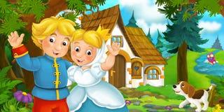 Cena dos desenhos animados com posição feliz do casal e sorriso na floresta perto da casa de campo ilustração do vetor