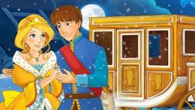 Cena dos desenhos animados com príncipe e princesa Imagens de Stock