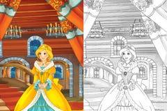Cena dos desenhos animados com a princesa bonita que sai do castelo - menina bonita do manga - com página da coloração Imagens de Stock Royalty Free