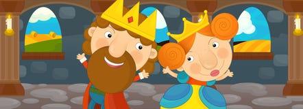 Cena dos desenhos animados com rainha e rei - par feliz Fotografia de Stock