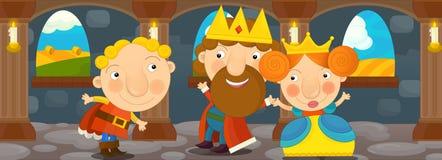 Cena dos desenhos animados com rainha e rei - par feliz Foto de Stock Royalty Free