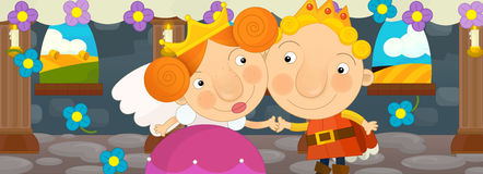 Cena dos desenhos animados com rainha e rei - par feliz Foto de Stock