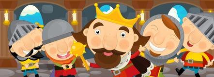 Cena dos desenhos animados com rei e seus cavaleiros no castelo Foto de Stock