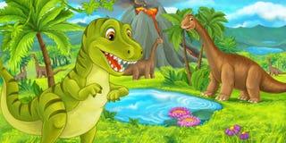 Cena dos desenhos animados com rex feliz do tiranossauro do dinossauro perto de entrar em erupção o vulcão e o diplodocus ilustração royalty free