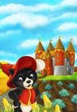 Cena dos desenhos animados com um gato no campo de milho - olhando ao redor de seu esconderijo ilustração royalty free