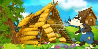 Cena dos desenhos animados da casa que está sendo demulida - sopro do lobo Imagens de Stock