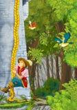 Cena dos desenhos animados de um nobre - algum príncipe ou viajante - que escala na torre Imagem de Stock