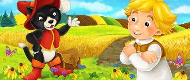 Cena dos desenhos animados de um viajante nobre do gato que fala a um homem no campo ilustração stock