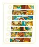 A cena dos desenhos animados - dinossauro com outros animais antigos - confunda o jogo Foto de Stock