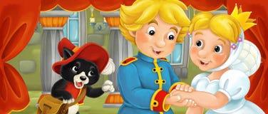 Cena dos desenhos animados do casal na sala do castelo Fotos de Stock Royalty Free
