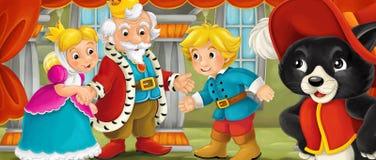 Cena dos desenhos animados do casal na sala do castelo Imagem de Stock