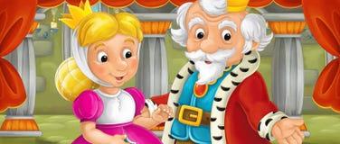 Cena dos desenhos animados do casal na sala do castelo Fotografia de Stock Royalty Free