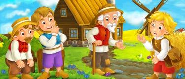 Cena dos desenhos animados - grupo de pessoas que fala - vida na vila pequena - épocas medievais velhas ilustração royalty free