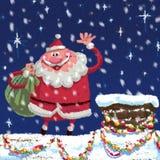 Cena dos desenhos animados Santa Claus no telhado Imagem de Stock Royalty Free
